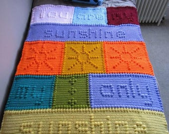 You are my sunshine bobble stitch words crochet toddler child blanket afghan throw GRAPH PATTERN ONLY