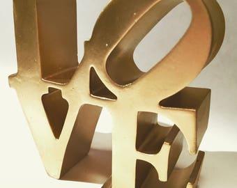 Handmade Gold Metallic Philadelphia NYC Love Sign Cake Topper Rose Gold Silver