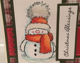 Christmas snowman, in plaid