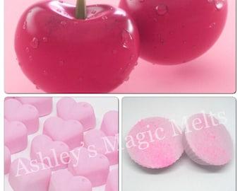 cherry wax melts, soy wax melts, strong wax melts, highly scented wax melts, cheap wax melts, fruity wax melts, wax tart melts
