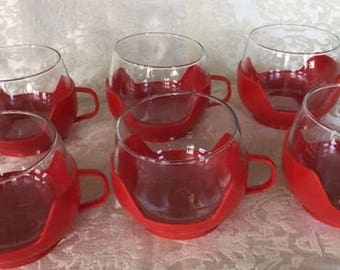Set of 6 Vintage Roly Poly Glasses/Cups in Holders With Handles 1970s vintage home decor
