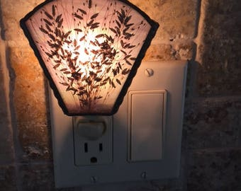 Vintage Stained Glass Night Light with Dried Leaves 1970s