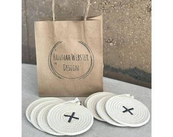 Cotton coil rope coaster set (x 4) - dining - custom colours - 100% cotton - handmade