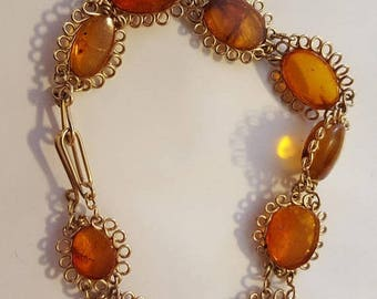Amber and gold wire bracelet