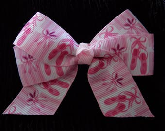 Ballerina Hair Bow - Girl's hair bow, Ballerina slippers, Dancing Theme, Hair bow for girls, Ponytail hair bow