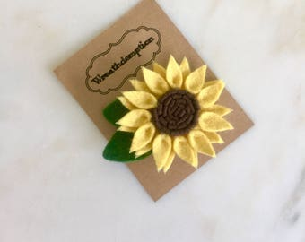 Gold and Chocolate Brown Felt flower Hair Clip