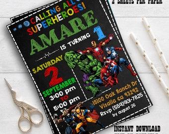 Instant download- Superhero Invitation, Superhero Avenger Birthday Invitation /Avenger Invitation / Boy Invitation / editable pdf invitation