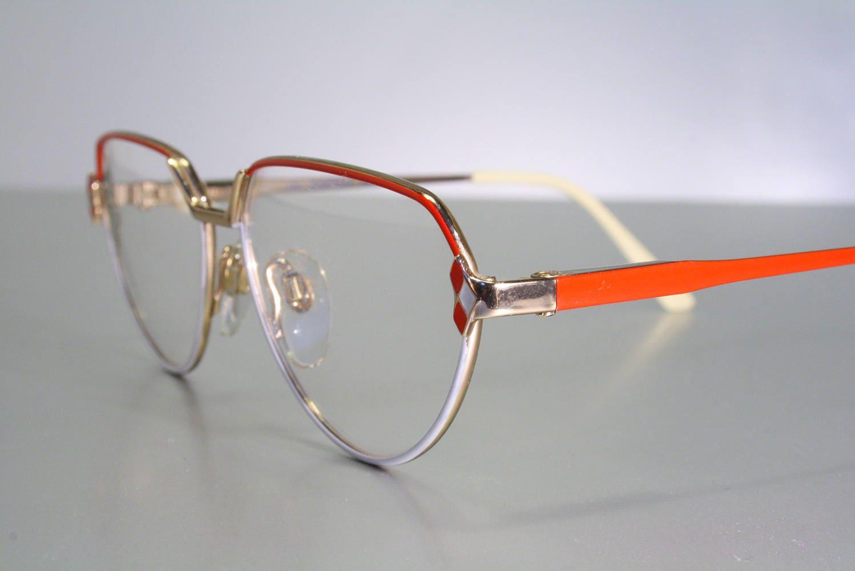 Teen size SAFILO ELASTA Vintage 80\'s Aviator Red & White Eyeglass ...