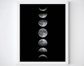 Moon Phases Print, Moon Phases Wall Art, Moon Cycle Poster, Moon Art Print, Scandinavian Moon Print, Moon Phases Printable, Astronomy Art