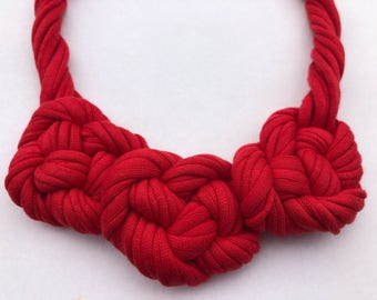 Red Twisted Knotted Necklace, Statement Necklace, Gift for Her, Fabric Necklace, Handmade Necklace, Tshirt Yarn Necklace