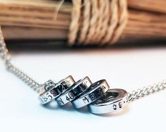 Men's Necklace, Anniversary for Men, Personalized, Custom Gift, Hand Stamped, GPS Coordinates, Stainless Steel