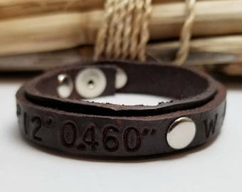 Men's Leather Bracelet, Coordinates, Leather Cuff, Personalized, Anniversary, Gift for Husband, Leather Engraved Bracelet