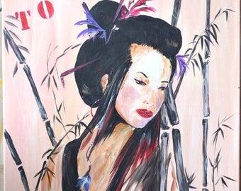 Japanese modern painting, fashion poster