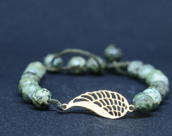 18K-Gold 'Angel Wing' Beaded Bracelet// green Jasper color Beads