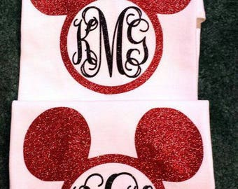 Mickey/Minnie monogrammed shirt.