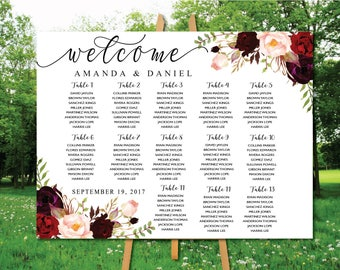 Wedding Seating Chart, Poster wedding, Seating Chart, Wedding Table seating, Decor Signs , Wedding decor, Signs, Find Your Seat, SC25