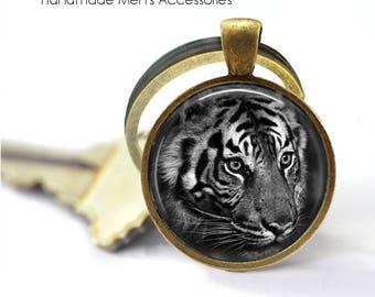 TIGER FACE Key Ring • Black and White Tiger • Jungle Tiger • Indian Tiger • Tiger Head • Gift Under 20 • Made in Australia (K412)