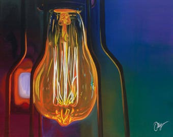 Giclee Print - Edison - Light Bulb