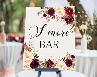S more bar Wedding Sign Digital Floral Marsala Burgundy Peonies Wedding Boho Printable Bridal Decor Gifts Poster Sign 5x7 and 8x10 - WS-024