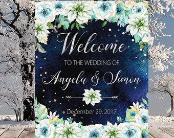Welcome Wedding Sign Winter New Year Snow White Mint Floral Wedding Reception Sign Bridal Shower Wedding Welcome Poster WS-051