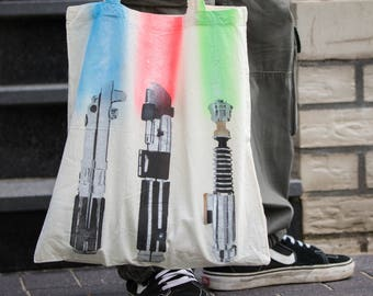 "Cotton bag / bag with handmade stencil design ""Nerd Wars"". Acrylic spray paint."
