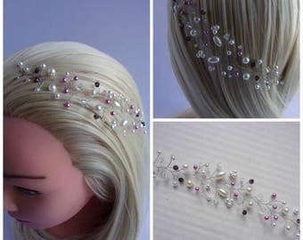 Bridal headpiece with pearl beads and Swarovski crystals/Bridal pearl tiara/Wedding hair vine/Pearl hair vine/9 colours available