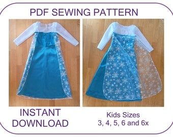 Frozen Elsa costume pattern. 5 sizes for 3-6.5 years. Instant download Elsa princess Ice dress pattern. Computer drafted PDF sewing pattern
