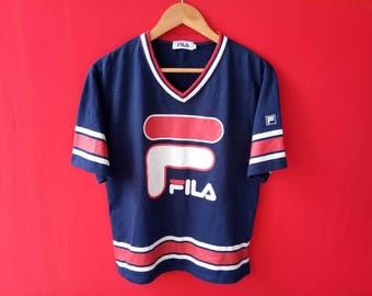 vintage fila big logo casual small mens tshirt