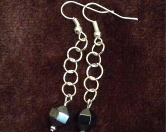 Hematite and chain earrings