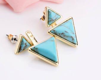 Turquoise Gold Triangle Ear Jacket Earrings Jackets Front Back Drop Earrings Boho Green Blue Geometric Minimalist Trend