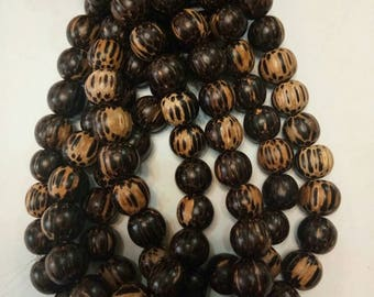 Round old palmwood beads 10mm (10 strands)
