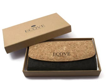 ECOVE - high-quality and elegant Cork women's wallet, wallet with many subjects, size: 19 cm x 10 cm