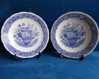 Two Blue Delft Wall Plates, Boch Belgium