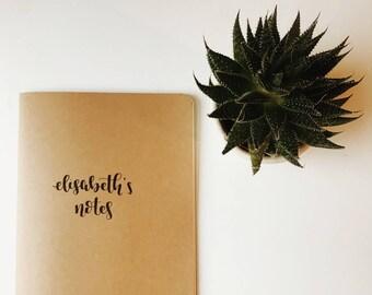 Personalised Traveler's notebook insert, Fauxdori, Calligraphy