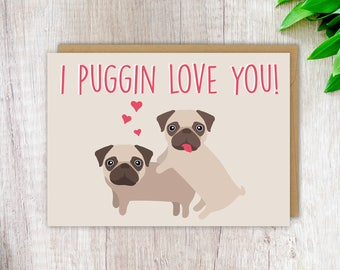 Cute Card Funny Love Card Pug Card Rude Birthday Card Blank Greeting Card Card for Girlfriend Card for Her Pug Love Card Cute Gift