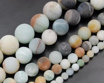 Frosted Matte Blue Amazonite Beads, Gemstone Beads, Round Natural Beads, 4mm 6mm 8mm 10mm 12mm 5-40pcs