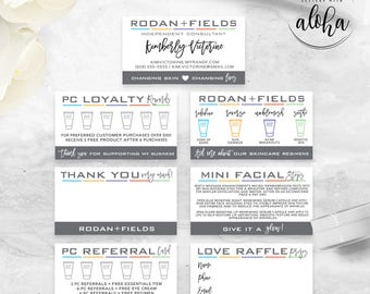 Rodan and Fields Business Card Personalized Digital Files Bundle | Gray Hearts