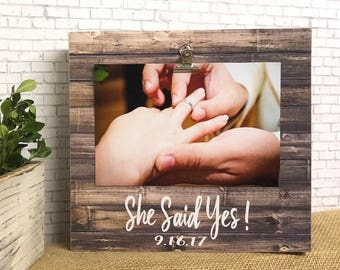 Engagement Frame  She Said Yes  Personalized Engagement  Engaged Frame  Engagement Gift Idea