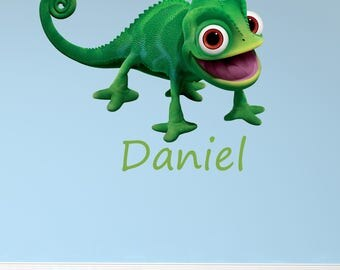 Personalised name Rapunzel gecko princess,prince cute childrens wall sticker decal