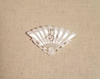 Vintage Mother of Pearl Carved Fan Pin (Brooch)