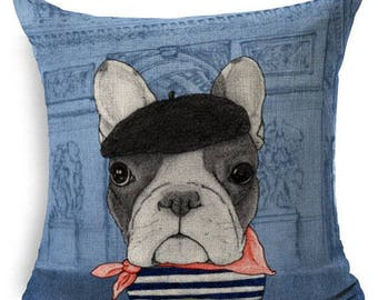 Artist Blue Frenchie French Bulldog Decorative Throw Pillow Case