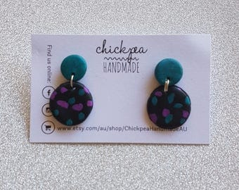 Dotty Dangles - Teal and purple shimmer drop studs - Handmade from polymer clay