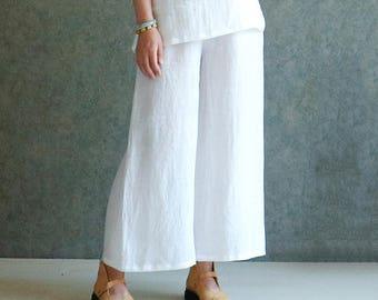 Handstitched Linen pants,white linen pants,linen pants,wide leg pants,linen wide leg pants