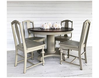 SOLD   Antique Farmhouse Dining Set Antique Table And Chairs Empire Linen  Farmhouse Style Table Linen