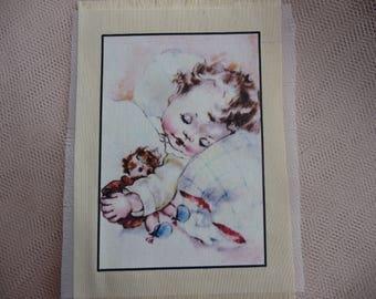 Retro transfer: Illustration adorable retro baby transferred onto cotton fabric fine pale yellow color