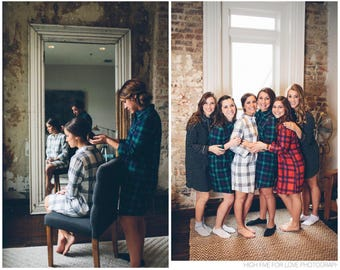 Bridesmaid Shirts, Bridesmaid flannel shirt, bridesmaid plaid shirts, bridal party flannel shirts, flannel sleepshirt, oversized