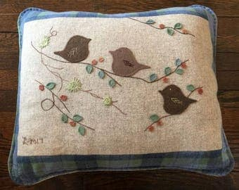Handmade 'Wool Birdies' embroidered pillow with quilted back