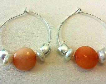 Genuine Carnelian Freshwater Pearl Hoop Earrings. B