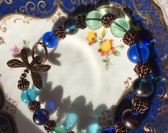 Blue and Green Glass Dragonfly bracelet