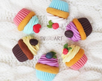 Cupcake Brooch / handmade polymer clay jewelry / Sweet cupcake brooch pin / fimo brooch / sweet-tooth pink blue yellow white colors